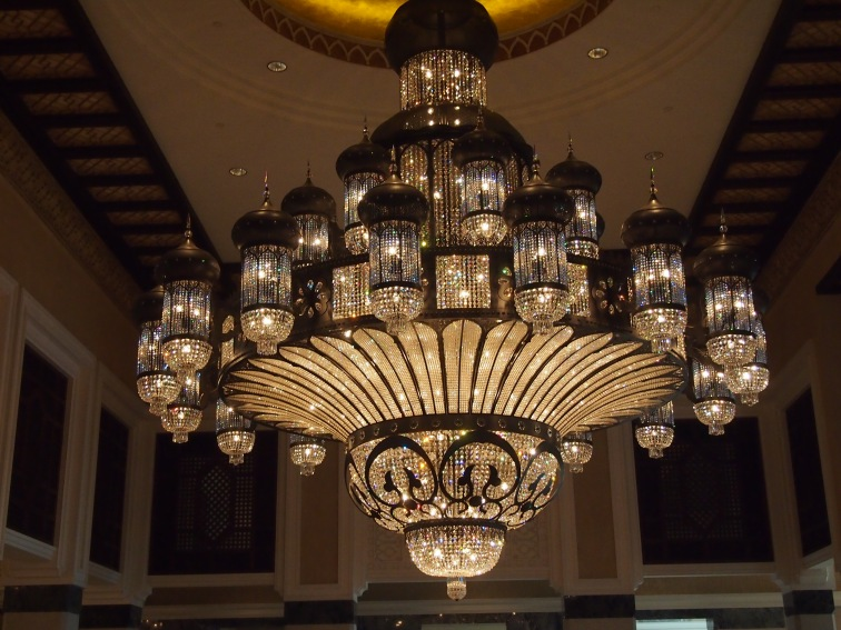 A beautiful and very big arabesque chandelier at Al Qasr Hotel.